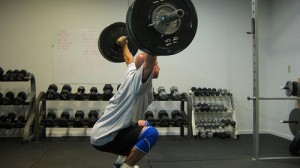 Bridgetown Crossfit's Jay Tieder doing a 245 Overhead Squat.