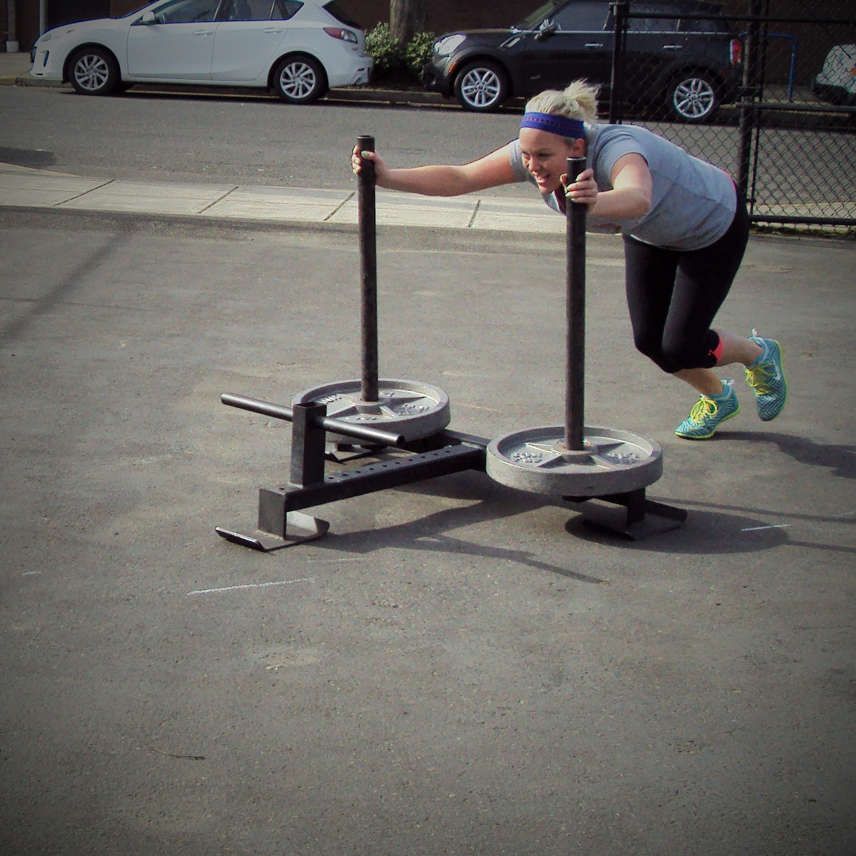 Prowler Push Strength and Conditioning Training at Bridgetown CrossFit