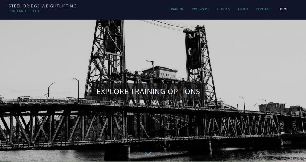 Screen Shot of Steel Bridge Weightlifting Club Website image of Portland Steel Bridge