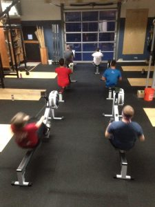 Rowing on the erg at Bridgetown Crossfit Portland OR